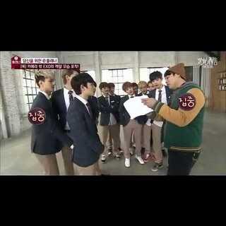 世勋抓D.O屁股招惹对吧!还有惹chen小心打你哦。后面的tao和晗哥在打闹额。#至善韩流频道#