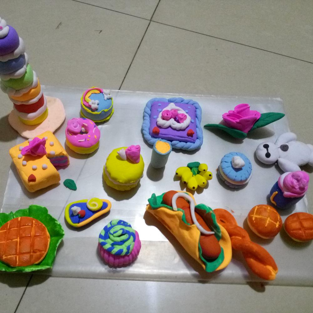 做了一天的粘土作品#我的粘土作品# #仿真的粘土食物