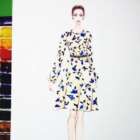 服装设计彩铅手绘图