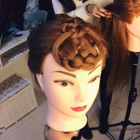 透露发型课程小视频,示范发型,中国结,中式发型
