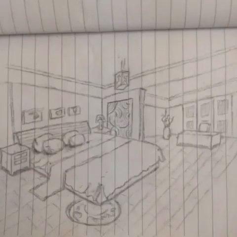 手绘《室内设计》 只用铅笔画!画纸也用完了,其实很简单的!