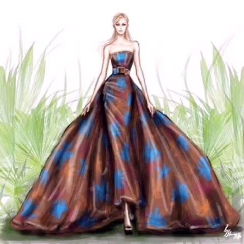 手绘插画 服装设计 彩铅 婚纱礼服 彩铅 华丽大气的高级订制手绘 来自时装插画师shameless