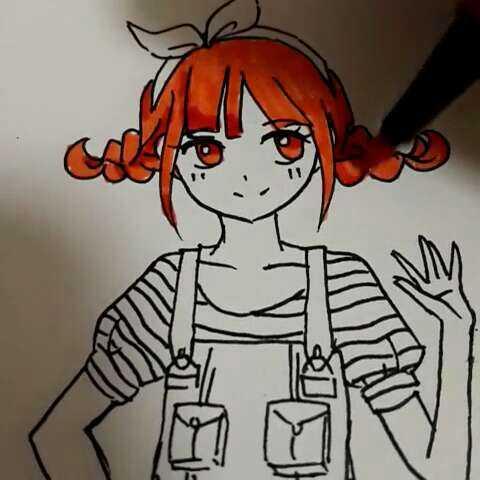 0后绘画大赛 动漫少女 水彩笔画 麻花辫小 阿卜卜星的美拍