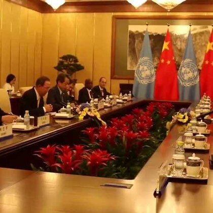 7月7日傍晚,正在北京访问的秘书长潘基文与中国国家主席习近平举行了会晤。潘基文感谢中国政府与人民在过去十年间对他本人以及联合国工作的支持。潘基文表示,展望未来,世界无疑需要中国富有远见的领导。期待着联合国与中国更深入的合作。