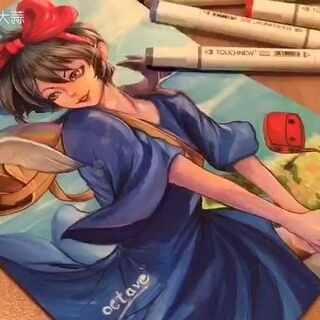 这个让我看了不下几十回的《魔女宅急便》,还是忍不住要画她了。乐观的琪琪和可爱的吉吉,都好爱~😍😍#马克笔手绘##马克笔手绘漫画##宫崎骏##魔女宅急便##动漫##二次元#