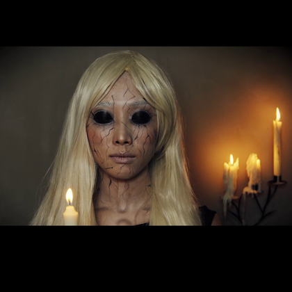 万圣节巫咒娃娃妆 #万圣节妆容# 老鱼映画。想了解更多请加微信:laoyuyinghua