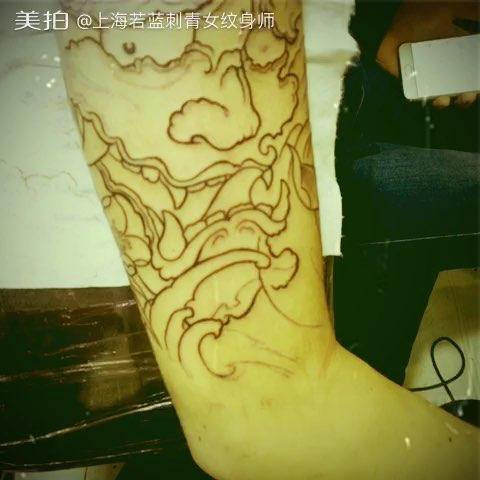 般若纹身手稿割线图图片