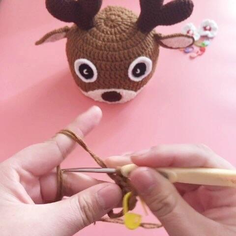 【芸手工美拍】圣诞麋鹿帽子教程-1#手工编织##...