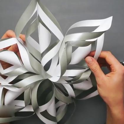 做个3D雪花装饰房间吧#手工##生活DIY教程#