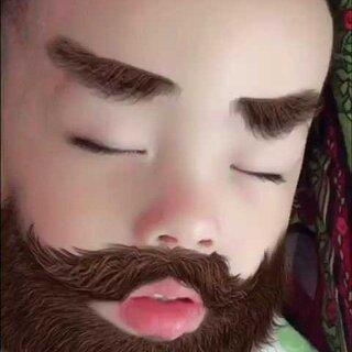 #faceu##宝宝# 大胡子睡的好香啊