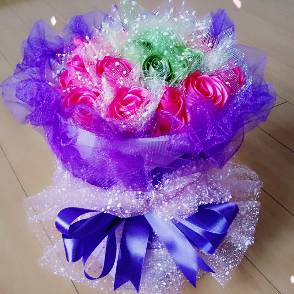diy手工丝带玫瑰花的美拍图片