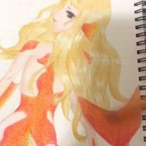 画了一条锦鲤妖 锦鲤 创意手绘 古风绘 刚开始看起来 桃花赋沉鱼??的美拍图片
