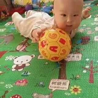 教小可乐玩推球🏀,悟性很高👏越玩越顺溜(7个月+12天)#我家轩哥##乖可乐成长记#