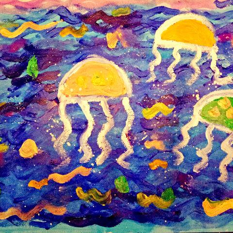 【美嘉老师美拍表情文】水母#儿童绘画##创意美术##我要.