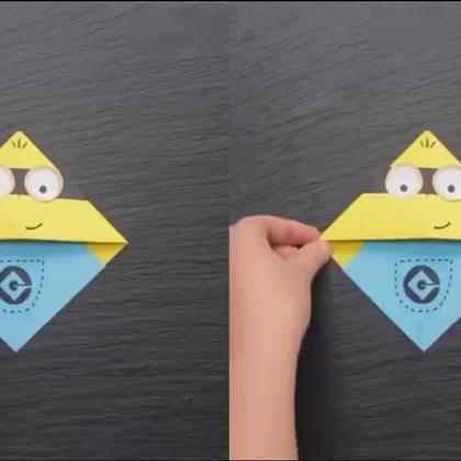 教小朋友折小黄人书签,简直是哄小孩神器,很棒#手工##折纸##生活DIY教程#