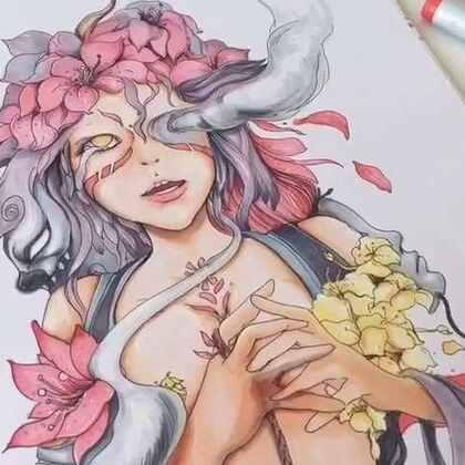 《花》的创作。天暖了,你那的花都开了吗?😄#octave 大蒜##原创##手绘#