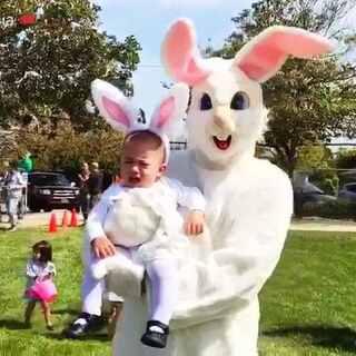 第一次过easter节日。 小兔子出门捡蛋了。 👏👏👏#宝宝##宝宝成长记#