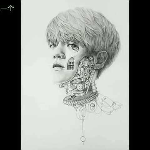 边伯贤 边伯贤的素描,机器人的伯贤,你要吗 ,包邮哦?? 男 EXO粉图片