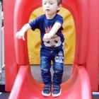 To infinity and beyond! Haha, he wanna fly like Buzz Lightyear😅😅😅