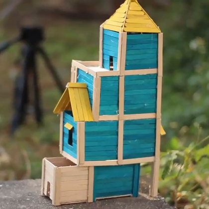 给鸟儿做个冰棍棒小房子#手工##生活DIY教程#