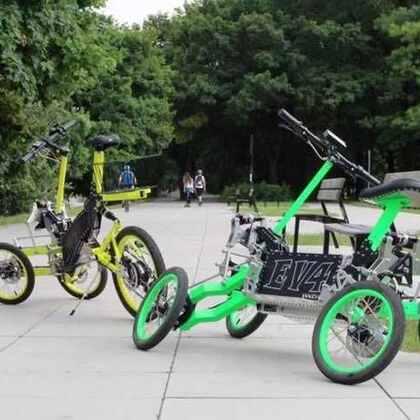 3⃣️脑洞大开的出行交通工具#玩转科技# 炫酷倒三轮自行车,四轮自行车,有着出色避震性能。
