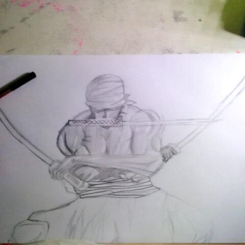 铅笔画 海贼王索隆 未完