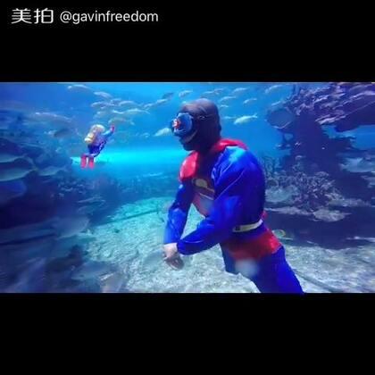 水下超人来袭!保护海洋的任务就要交给我吧!#超人##搞笑##自由潜水#