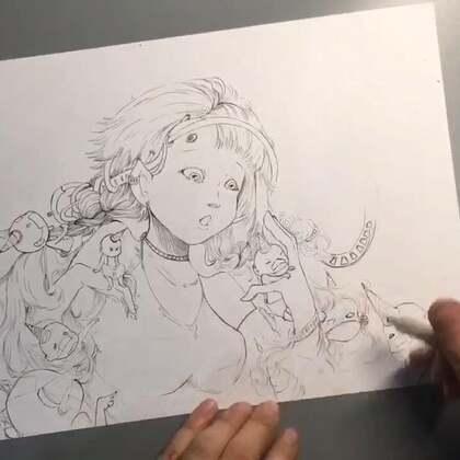 创作到线稿部分的绘画过程。就是喜欢随意的线条,以后可能会省略线条,这个不好说😎😑~不出意外明天会上完成图(上色部分)