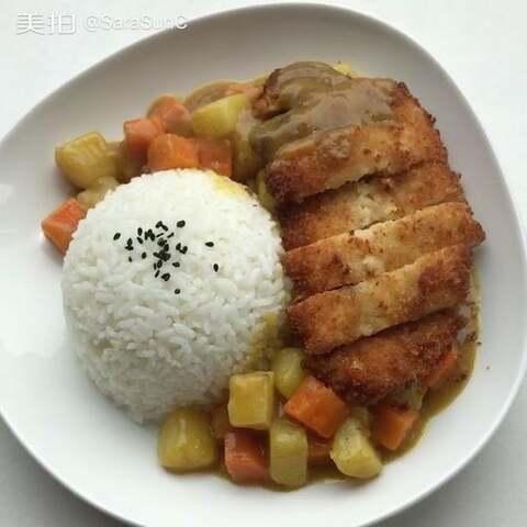 咖喱鸡排饭,今天状态特别不好...