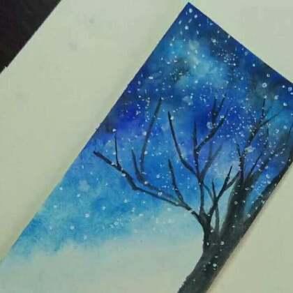 星空 手绘 水彩画 美拍