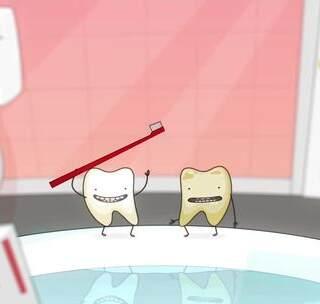 两颗牙齿咿呀咿呀哟#反手点赞#