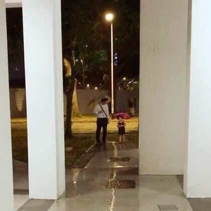 今晚本来要下楼去接爸爸,mo看到外面下雨很兴奋,因为终于可以用到新买的雨伞了。出门前momo去上了个厕所,爸爸就到家了。为了不让momo失望,我们带着她下楼去用用新雨伞😊#mo爸回来了##momo和爸爸#