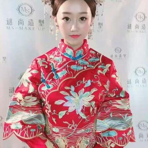 短发新娘造型 秀禾服中式新娘造型 谜尚造型 一抹为红 谜尚造型总监张图片