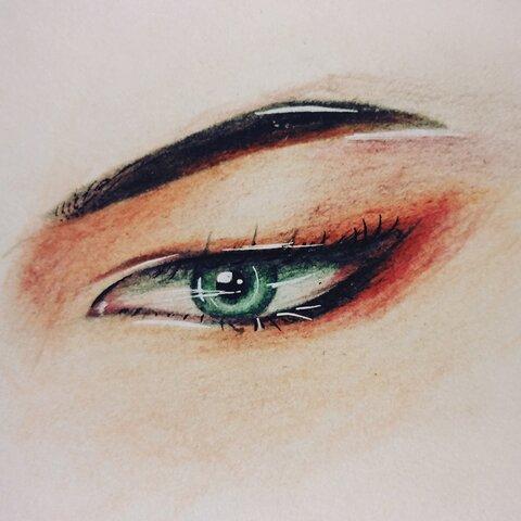 彩铅 彩铅手绘眼睛 古风绘 学习学习绘画绘画??天天向上 小废柴??的美拍图片