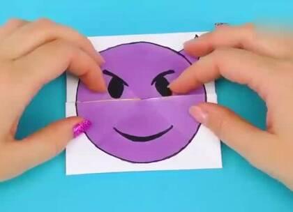 emoji表情包变脸卡片,萌萌哒,做一个拿去哄小朋友玩吧~#手工##生活DIY教程##DIY#