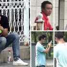 一男子被拷在铁网上,竟没有一个人想救!#街头恶搞##搞笑##整蛊#