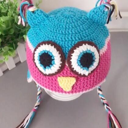 猫头鹰护耳帽教程-5#手工#猫头鹰护耳帽教程到这里就结束喽😊钩法简单,宝宝戴起来超级可爱的😊关键是很保暖哦😊