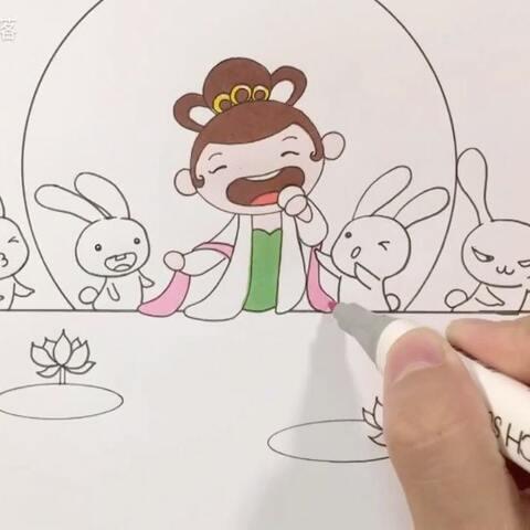 简笔画 2017中秋节 看嫦娥和兔子一起吃月饼