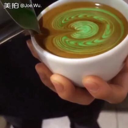 #手工##原创##我要上热门@美拍小助手#咖啡培训,想要一杯绿色的拿铁吗
