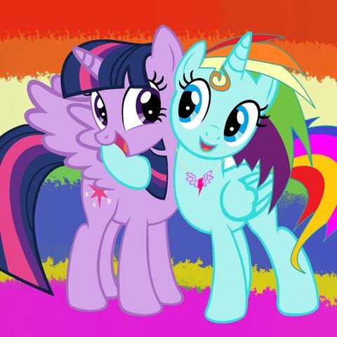 今天画的,暮光闪闪和彩虹冰峰 注 彩虹冰峰是我自己构想的小马,并不是我的oc