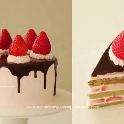 抹茶和草莓二合一的蛋糕!抹茶控和草莓控的福利!😍红和绿竟然能搭出这么小清新的感觉!抹茶和草莓的酸甜碰撞起来究竟是怎样的口感呢?😯