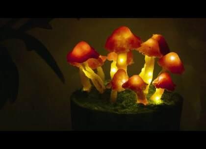 """【蘑菇灯】做了把""""毒蘑菇"""",到了晚上会发光,感觉自己睡在大森林。"""