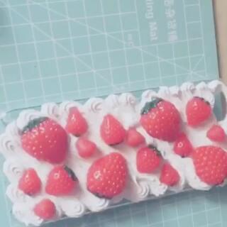奶油草莓蛋糕手机壳#diy奶油手机壳##我要上热门@美拍小助手#