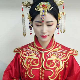 复古中式新娘#U乐国际娱乐化妆#