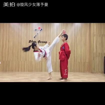 旋风少女薄予曼 曼精准➕控制力回旋踢头顶可乐罐……#跆拳道##运动##精选#