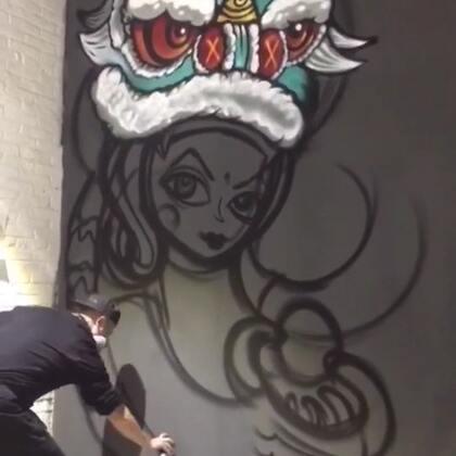 豫珑城地下涂鸦【舞狮】,完成1/4,提前感受年味💥#涂鸦##画画##graffiti#
