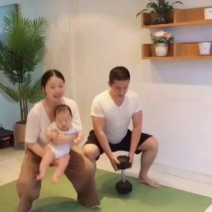 回想产后3个月,爸爸带我和宝宝的减肥亲子运动#宝宝##亲子时光#
