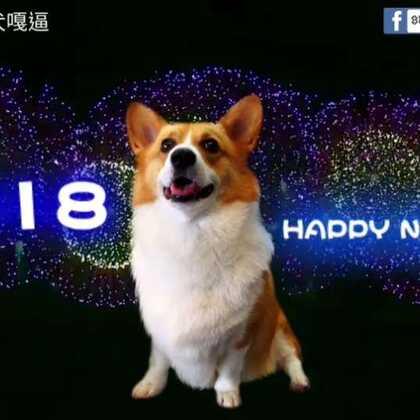 嘎逼其實很怕近距離聽得鞭炮聲, 所以只好用合成的囉,有日本的煙火,耶有ABBA合唱團的 happy new year.經典老歌,祝大家新年快樂啊#柯基犬嘎逼##2018新年快乐##萌宠#