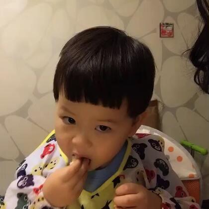 #宝宝##吃秀#泡泡太爱吃🍣了,😂顾不上抬头互动了!哈哈哈哈哈哈ヾノ≧∀≦)o。对了🎃粥今天我给🎃碾碎了,泡泡竟然不喝!