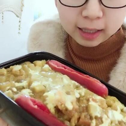 咖喱鸡排饭➕热狗#吃秀##舌尖上的美食##直播吃饭#直播吃东西#